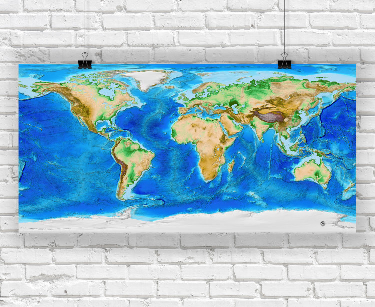 Earth's Topography and Bathymetry - No Labels