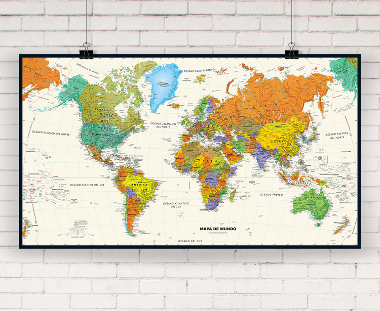 Contemporary Spanish Language World Wall Map