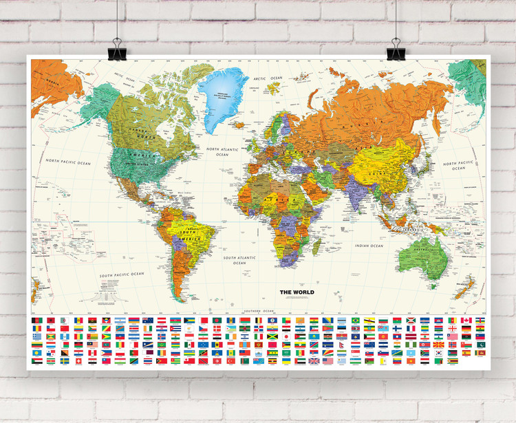 Contemporary World Wall Map with Flags