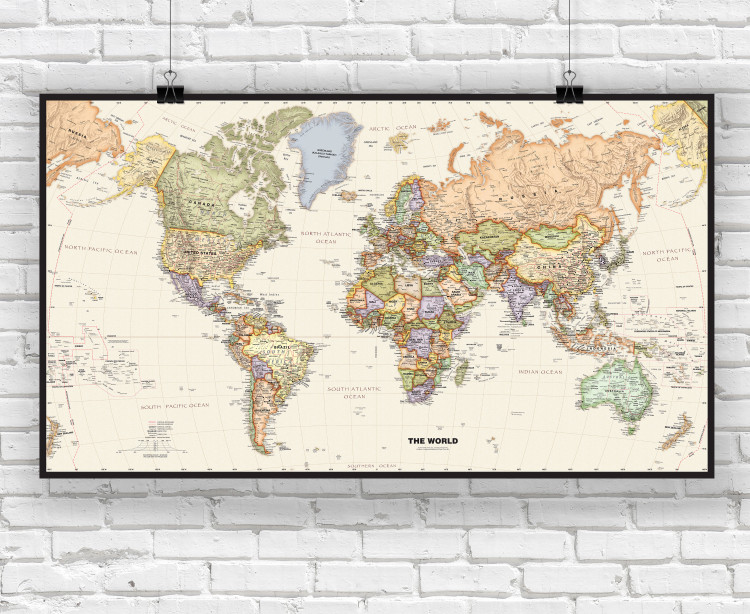 Political World Wall Map with Antique Oceans