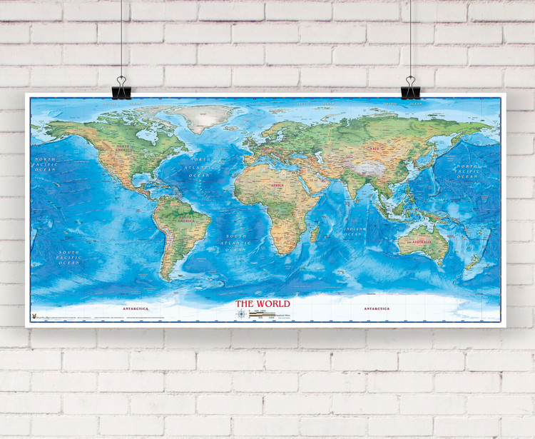 World Physical Wall Map by Compart Maps