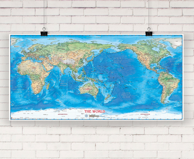 World Physical Wall Map Pacific Centered by Compart Maps