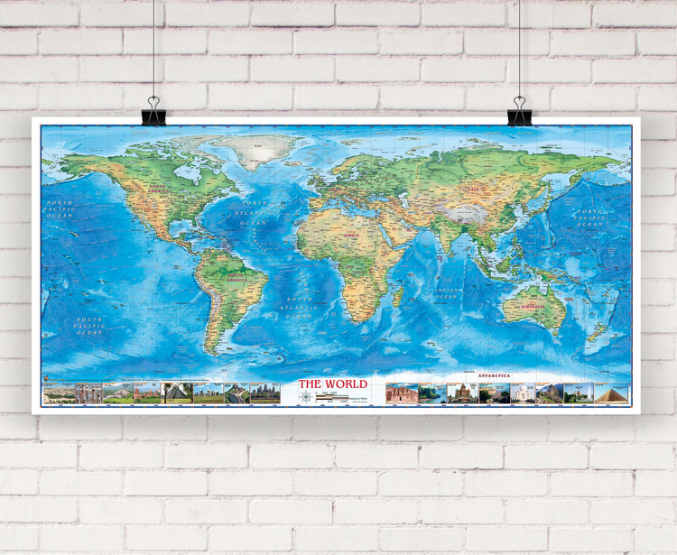 World Physical Wall Map with World Wonders by Compart Maps