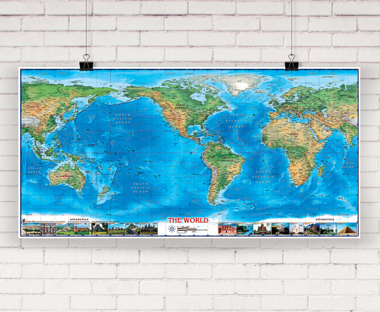 World Physical Wall Map Americas Centered w/ World Wonders by Compart Maps