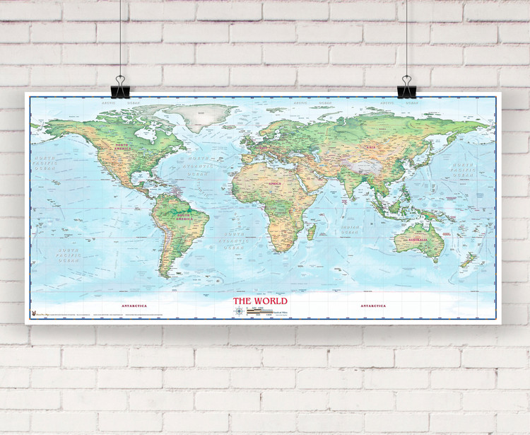 Light Ocean World Physical Wall Map by Compart Maps