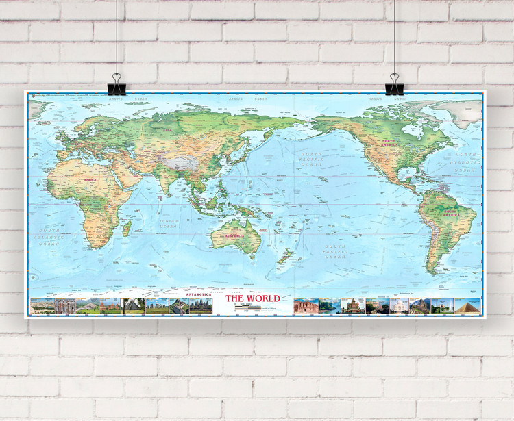 World Physical Wall Map Pacific Centered w/ World Wonders