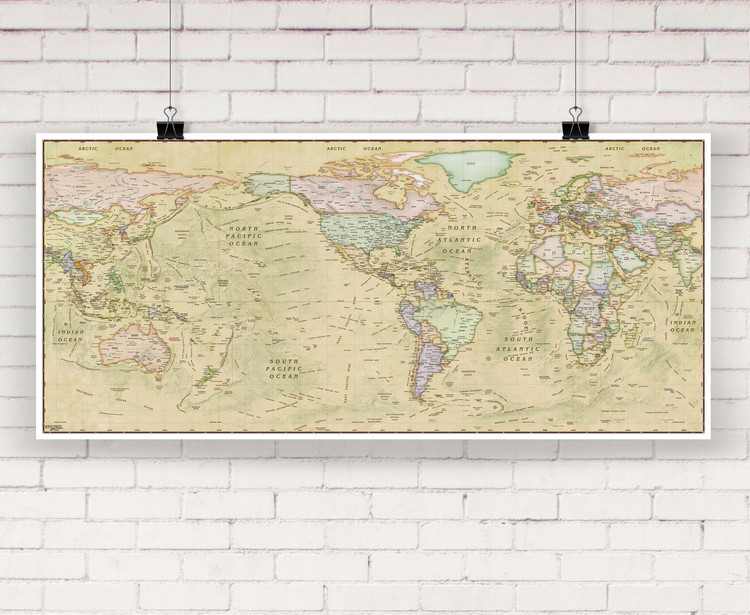 World Political Antique Ocean Wall Map by Compart Maps