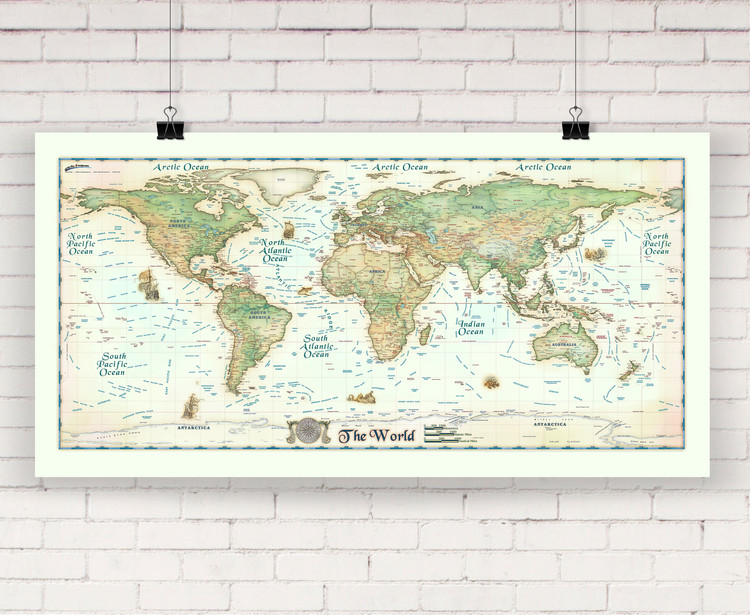 Colorful Antique Ivory World Wall Map Europe Centered by Compart Maps