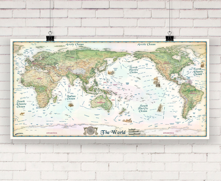 Colorful Antique Ivory World Wall Map Pacific Centered by Compart Maps
