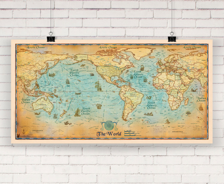 Antique Style World Wall Map by Compart Maps