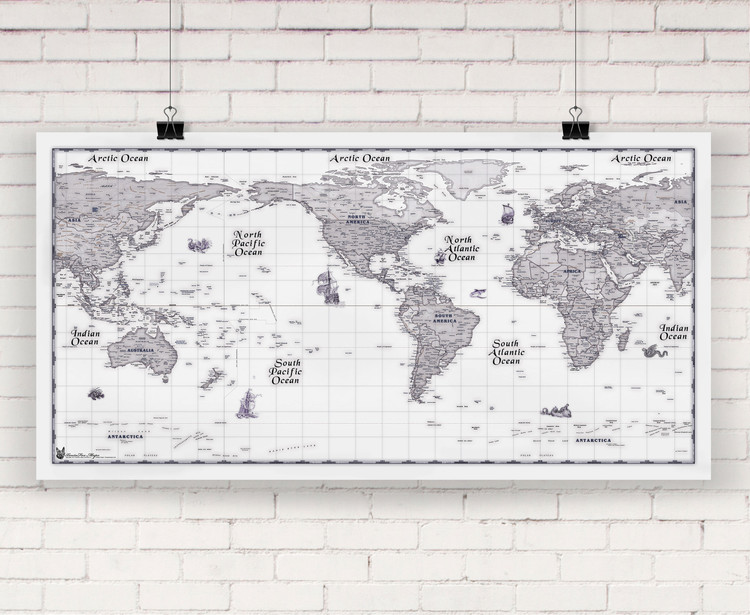 Blue Ink World Political Wall Map by Compart Maps
