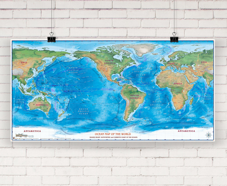 World Oceans Shaded Relief Wall Map by Compart Maps