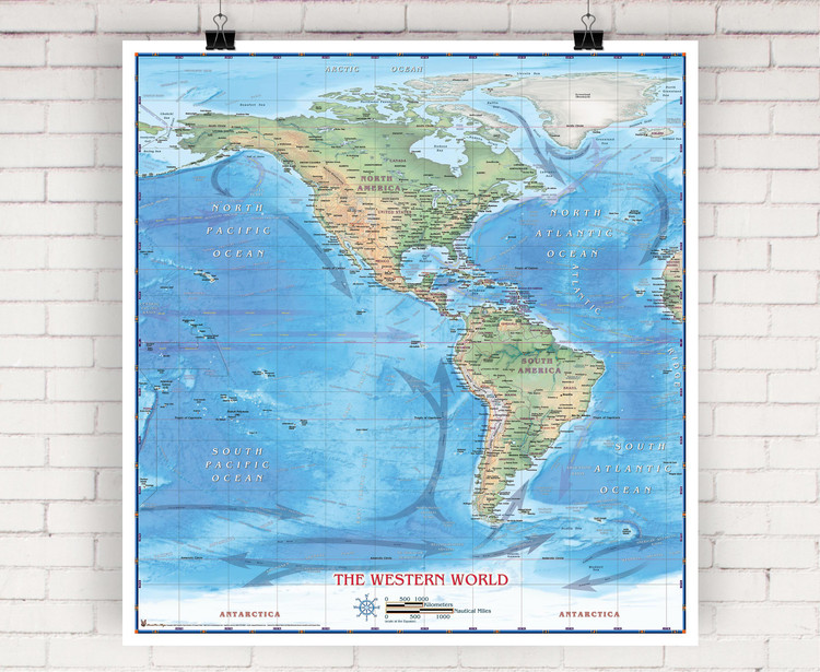 Western Hemisphere Physical Wall Map by Compart Maps