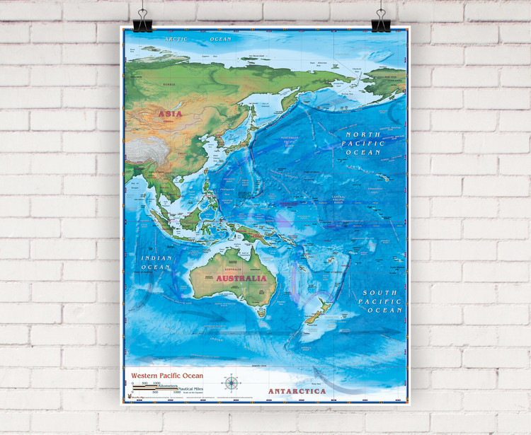 Western Pacific Physical Wall Map by Compart Maps