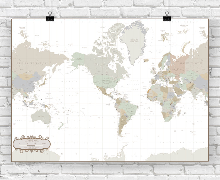 World Map - Tea Stain Colors