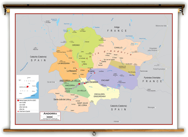 Andorra Political Educational Map from Academia Maps