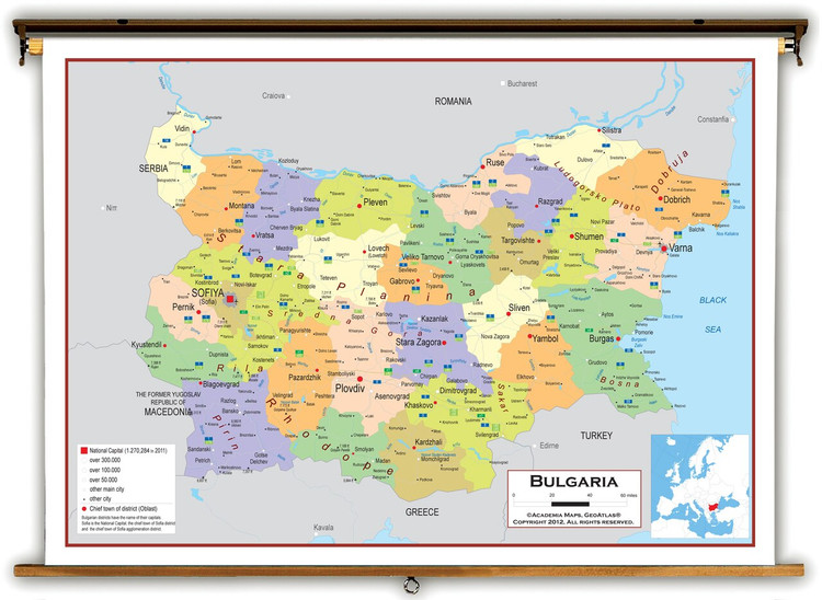 Bulgaria Political Educational Map from Academia Maps