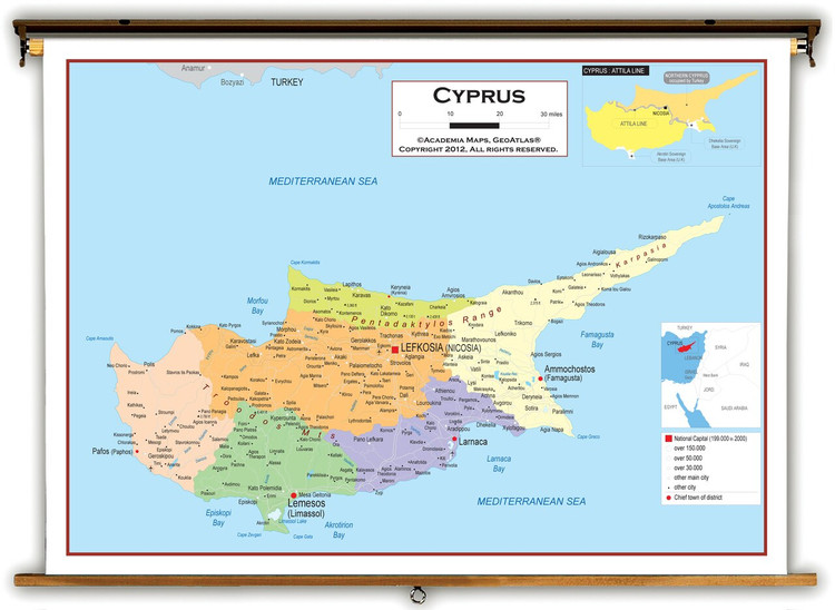 Cyprus Political Educational Map from Academia Maps