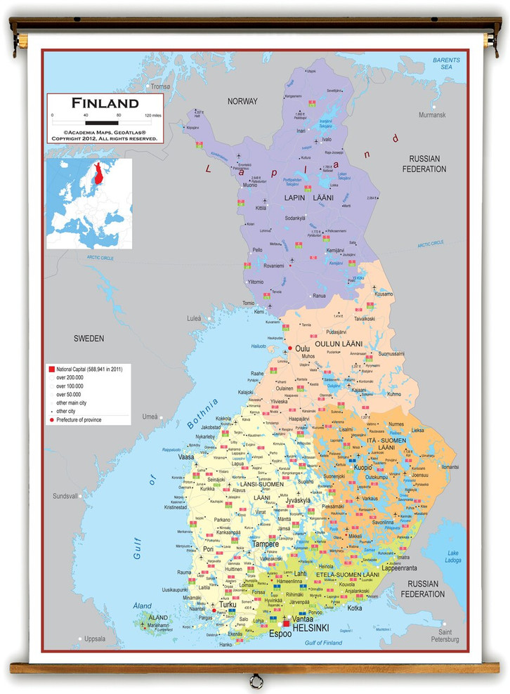 Finland Political Educational Map from Academia Maps