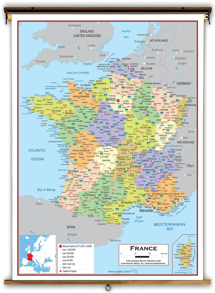 France Political Educational Map from Academia Maps