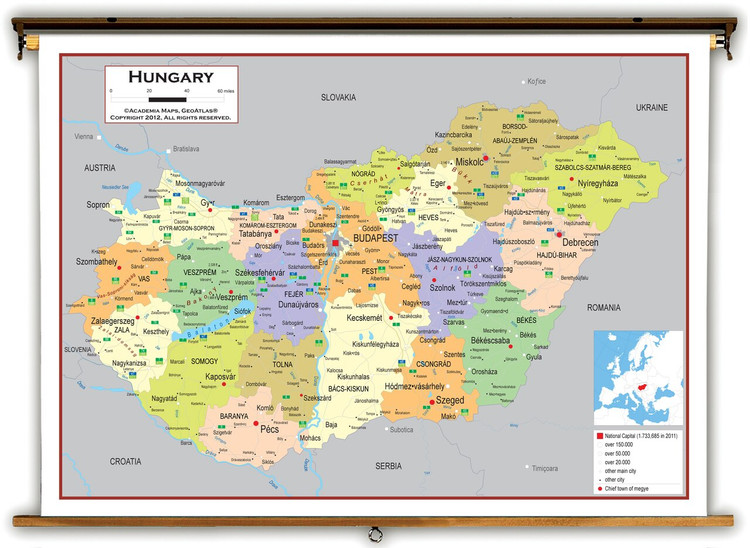 Hungary Political Educational Map from Academia Maps