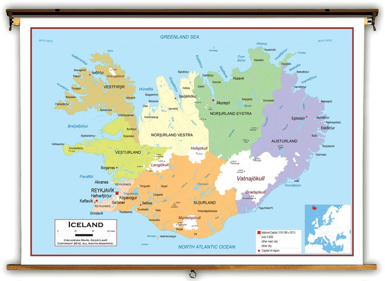 Iceland Political Educational Map from Academia Maps