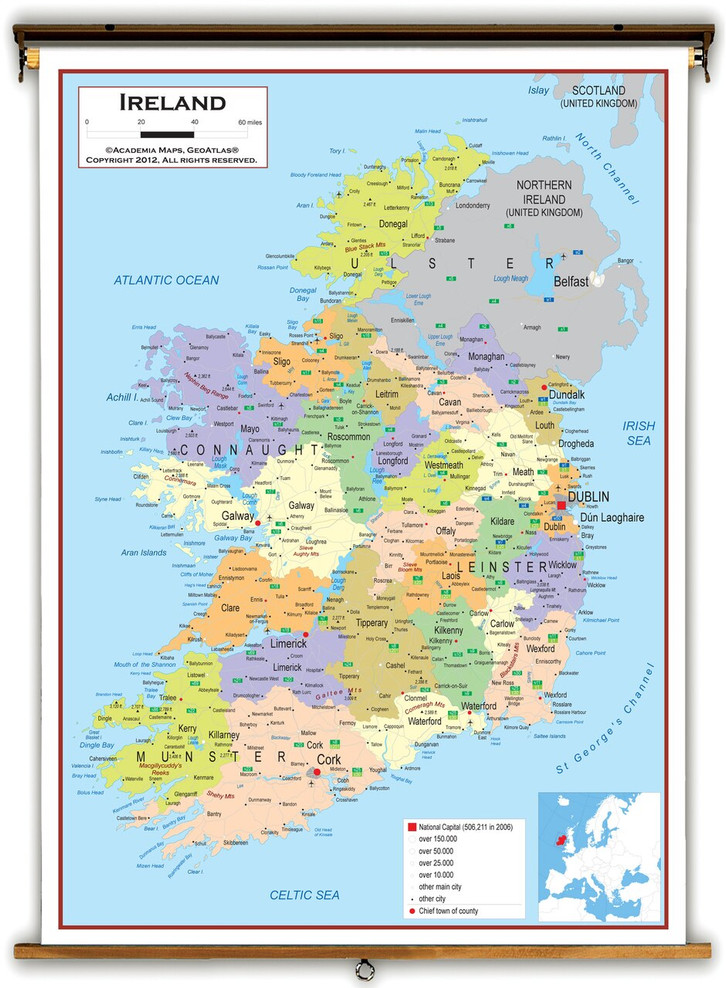 Ireland Political Educational Map from Academia Maps
