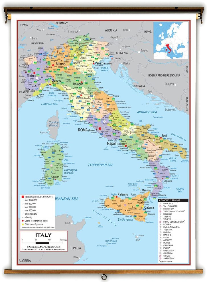 Italy Political Educational Map from Academia Maps
