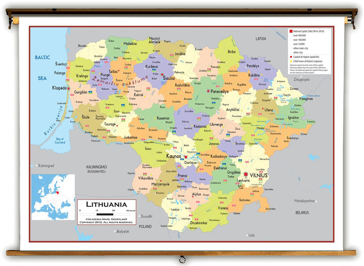 Lithuania Political Educational Map from Academia Maps