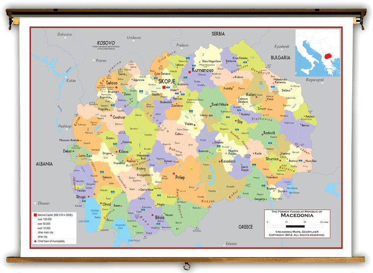 Macedonia Political Educational Map from Academia Maps