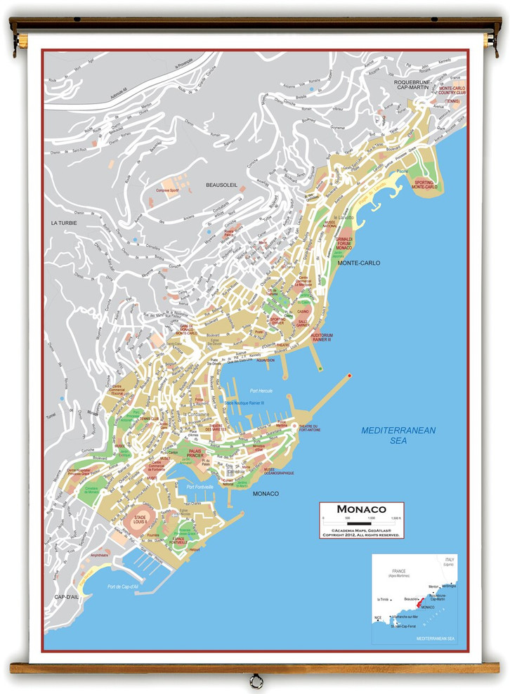 Monaco Political Educational Map from Academia Maps