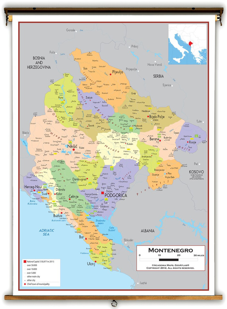 Montenegro Political Educational Map from Academia Maps