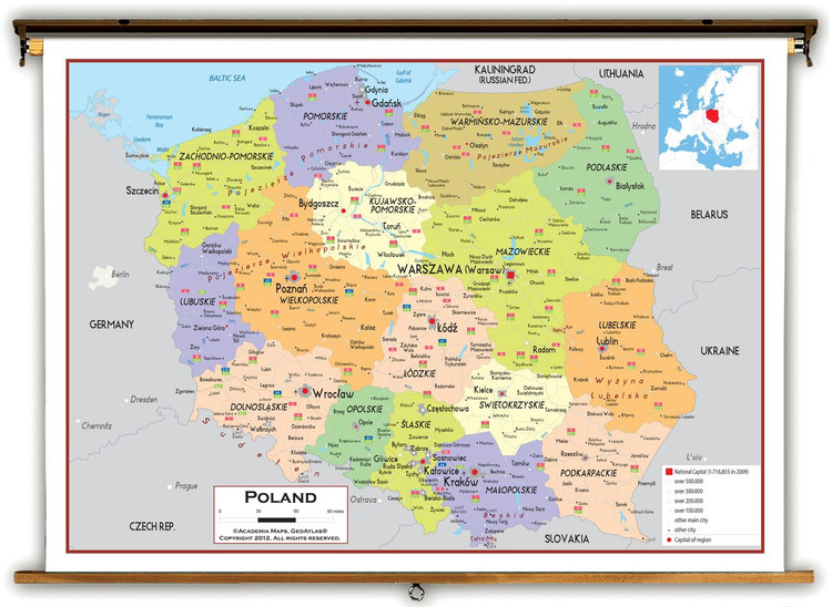 Poland Political Educational Map from Academia Maps