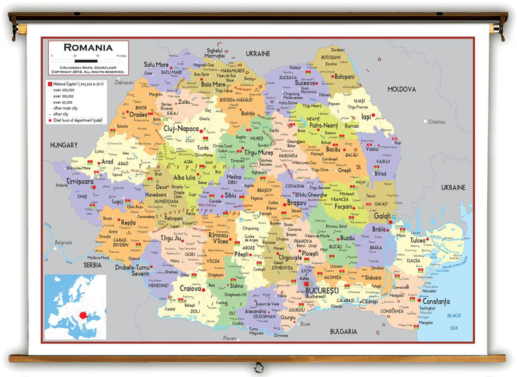 Romania Political Educational Map from Academia Maps