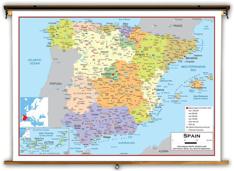 Spain Political Educational Map from Academia Maps