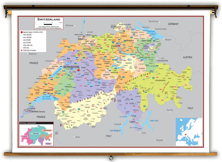 Switzerland Political Educational Map from Academia Maps