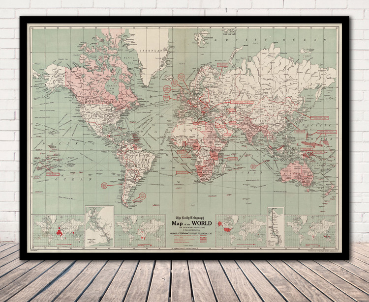 Historic World Map of WWI Conflicts, 1914-1918 - Vintage Map Print