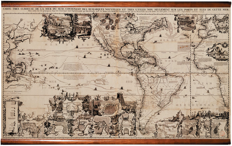 Historic Map - The Americas - 1719 - Fabric Giclee Print Wall Map Mural