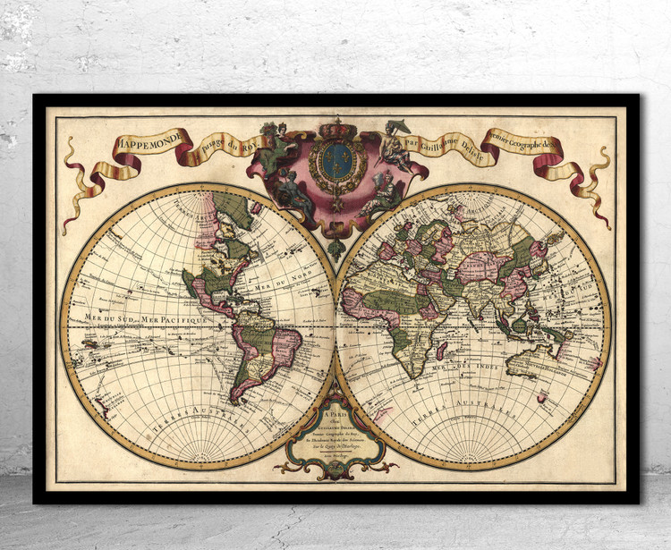 Historic Map - World - 1720 by Guillaume de L'Isle