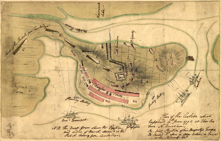 Historic Map - Boston, MA - Battle of Bunker Hill - 1775
