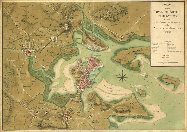 Historic Map - Boston, MA - Revolutionary War - 1776