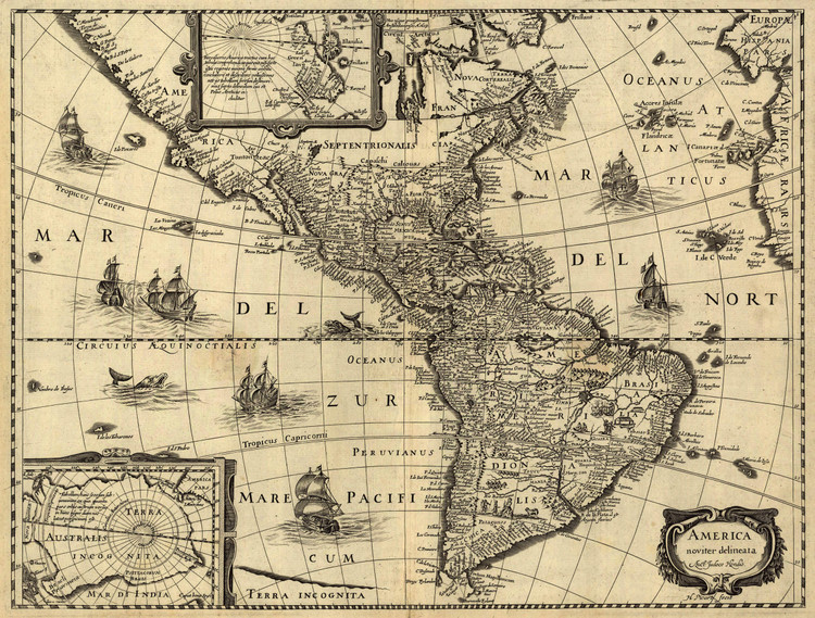 Historic Map - The Americas - 1642