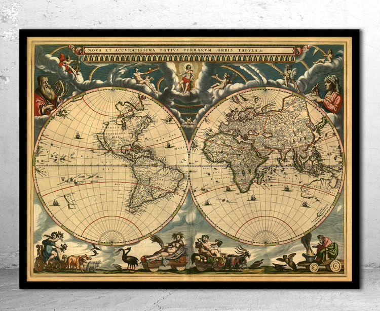 Historic Map - World - 1664 - Antique Map Print
