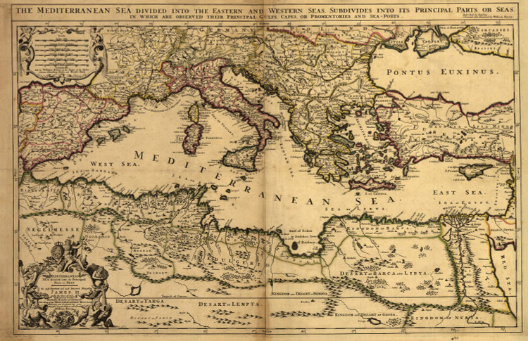 Historic Map - Mediterranean Sea - 1685