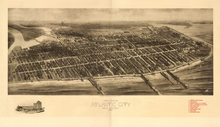 Historic Map - Atlantic City, NJ - 1909