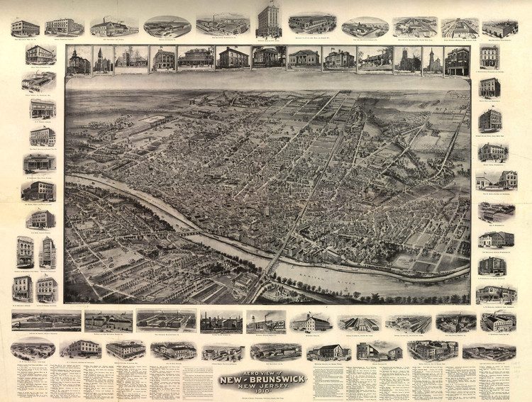 Historic Map - New Brunswick, NJ - 1910