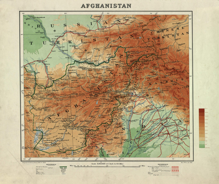 Historic Map - Afghanistan - 1912
