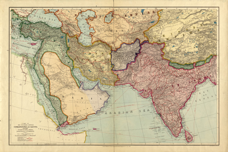 Historic Map - Middle East & Southern Asia - 1912