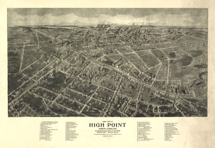 Historic Map - High Point, NC - 1913