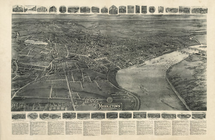 Historic Map - Middletown, CT - 1915